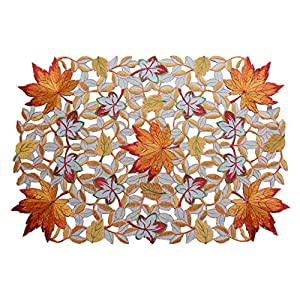 GRANDDECO Thanksgiving Harvest Table Runner 13″x34″, Embroidered Cutwork Maple Leaves Dresser Scarf Table Cover, Autumn Or Fall Decorations
