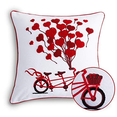 Cassiel Home Happy Valentine's Day LovePillow Covers Embroidered Red Bicycle with Heart Balloons Valentine's Day Decoration Valentine Throw Pillow Covers 18x18