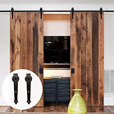 10FT/305cm Herraje para Puerta Corredera Kit de Accesorios para Puertas Correderas Dobles,Negro A-Forma: Amazon.es: Bricolaje y herramientas