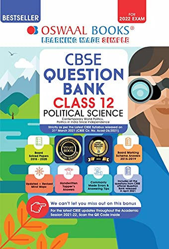 Oswaal CBSE Question Bank Class 12 Political Science Book Chapter-wise & Topic-wise [Combined & Updated for Term 1 & 2]
