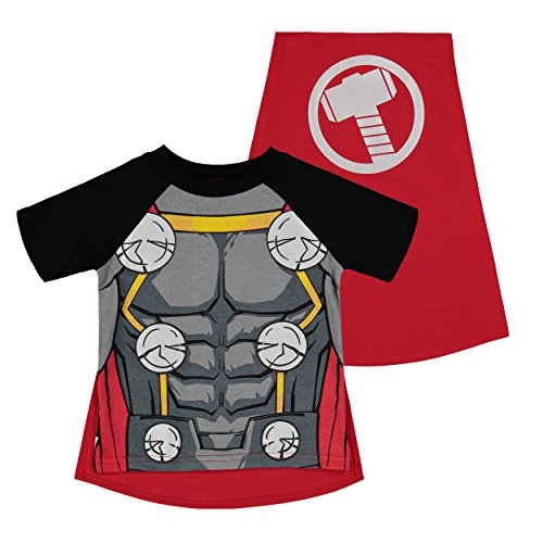Marvel Avengers Thor Toddler Boys' Costume Shirt with Cape, Grey (3T)]()