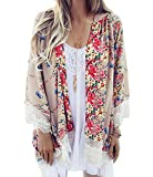 Relipop Women's Sheer Chiffon Blouse Loose Tops Kimono Floral Print Cardigan (XXX-Large, Beige)