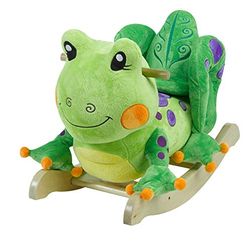 (Fergie Frog Rocker | Horse Plush Butterfly Baby Toy with Wooden Rocking Chiar Horse/Kid Rocking Toy/Baby Rocking Horse/Rocker/Animal Ride)