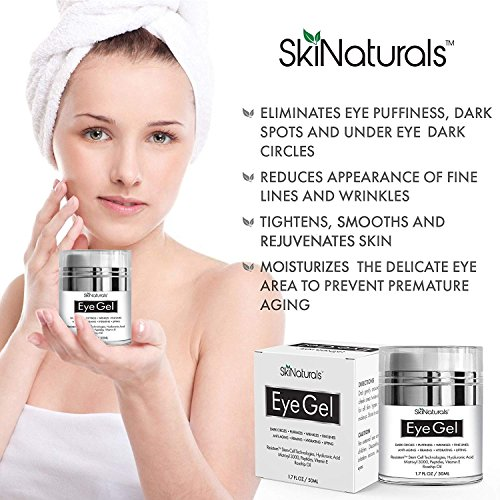 Eye Gel for Dark Circles, Puffiness, Wrinkles, Fine Lines and Bags - The Most Effective Anti-Aging Eye Cream for Under and Around Eyes with Hyaluronic Acid and Rosehip Oil - 1.7 fl. oz by SkiNaturals (Image #1)