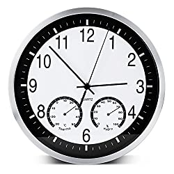 Egundo 12 Inch Large Number Silent Metal Wall Clock,Round Wall Clocks with Temperature Humidity,Vintage Non Ticking Battery Operated for Kitchen Bedroom Living Dining Kids Room Office School Study