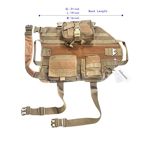 Feliscanis Tactical Dog Vest Training Molle Harness with 3 Detachable Pouches Brown Size M