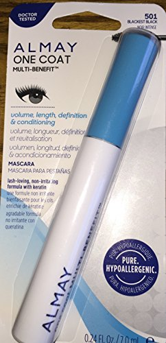 Almay One Coat Multi-Benefit Mascara, Blackest Black, 0.24 Fluid Ounce by Almay