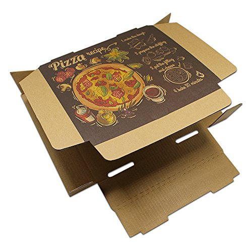 7.1x7.1x1.6 inch 50 Pieces Brown Paperboard Rectangle Disposables Food Supplies Pizza Package Boxes Kraft Folding Plain Pizza Box for Lunch Treat Cooking BBQ by PABCK (Image #3)