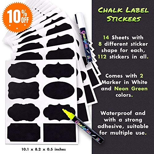 Waterproof Chalkboard Labels 112 Pack of Assorted Shapes & Sizes - Pantry and Storage Waterproof Labels for Jars: Mason, Spice, Glass, Cups, Bottles & Canisters - with 2 Easy to -