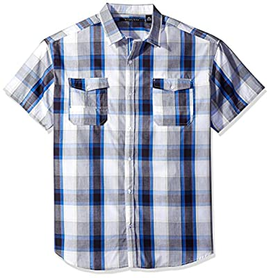 Sean John Men's Big and Tall Short Sleeve Seersucker Plaid Shirt
