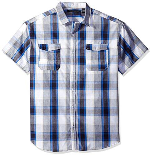 Sean John Men's Big and Tall Short Sleeve Seersucker Plaid Shirt, Bright White, (Seersucker Big Shirt)