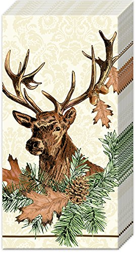 2 packs of Paper Pocket handbag Tissues Hankies - PAVILLON DE CHASSE cream deer stag hart - Pocket Tissue IHR