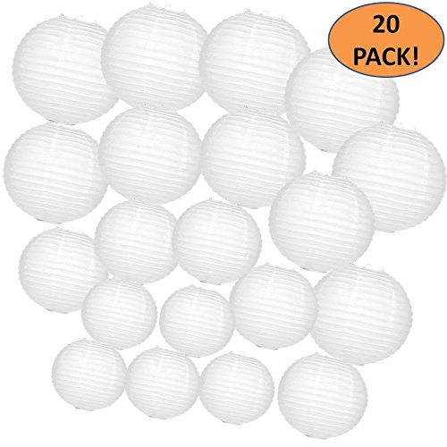 Chinese Light (White Paper Lanterns 20 Bulk Pack with Assorted Sizes 12, 10, 8, and 6 inch = 5 Each. Largest Lantern Pack Hanging Round Chinese Lamp Decoration for Your Wedding, Reception, Crafts, and Party Lights.)