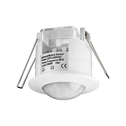 Goobay IDU Sensor infrarrojo pasivo (PIR) Alámbrico Techo Blanco - Sensor de Movimiento (Sensor infrarrojo pasivo (PIR), Alámbrico, Techo, Blanco, ...