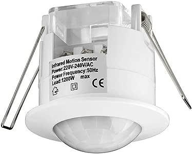 Goobay IDU Sensor infrarrojo pasivo (PIR) Alámbrico Techo Blanco - Sensor de Movimiento (Sensor infrarrojo pasivo (PIR), Alámbrico, Techo, Blanco, IP20, 3 LX)