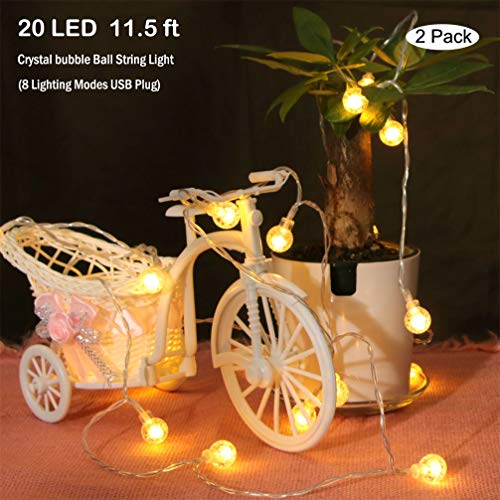 ANLAIBAO Crystal Ball String Lights,11.5ft 20 LED 8 Modes Dimmable USB Plug in Waterproof bubble Crystal Globe Starry Fairy Lights for Bedroom Garden Party Decoration Lights- 2 pack Warm White