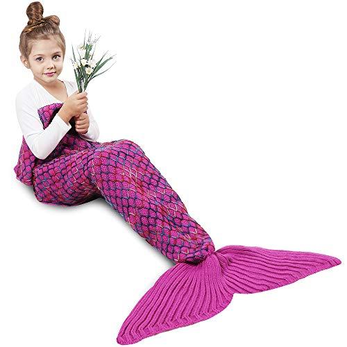 AmyHomie Mermaid Tail Blanket, Mermaid Blanket Adult Mermaid Tail Blanket, Crotchet Kids Mermaid Tail Blanket for Girls (Rose-Rainbow, Kids)