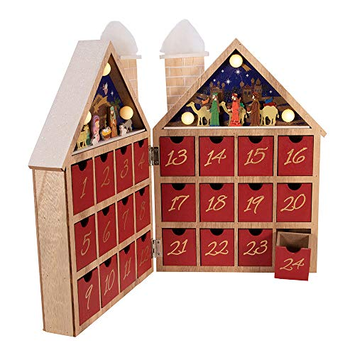 Kurt Adler Kurt S. Adler 11.81-Inch Battery-Operated Wooden LED Nativity Advent Calendar, Multi