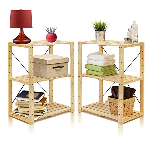 Furinno 2-33013 2-Piece Pine Solid Wood 3-Tier Adjustable Storage Shelf, Natural