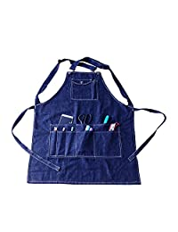 Denim Apron with Pockets Durable 100% Cotton for Men and Women (S, Blue)