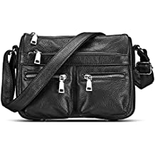 Lecxci Women's Small Soft Leather Multi-purpose Crossbody Handbag Shoulder Travel Bags Purses for Women