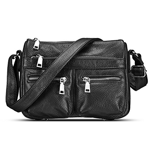 Lecxci Women's Large Soft Leather Multi-Purpose Crossbody Handbag Shoulder Travel Bags Purses for Women (Black) by Lecxci