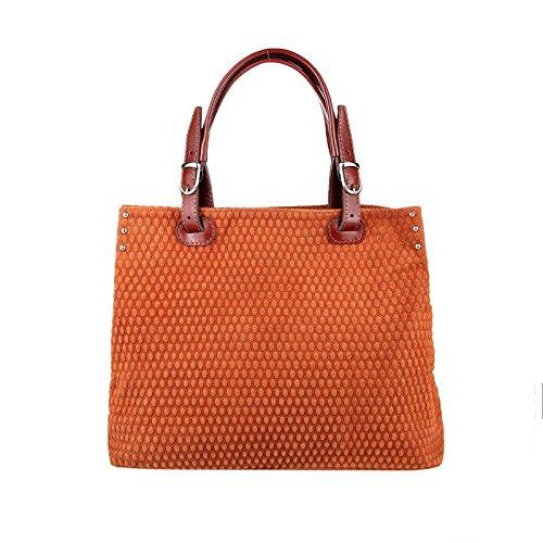 Made In Italy Sac pour femme en cuir avec poignées et bandoulière Everyday Crossover Bowling Hobo-bag - Cognac, 38x35x15 cm (bxhxt), 37x26x17 (bxhxt) cognac