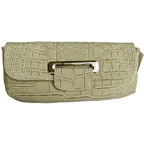 Crocodile Print Faux Leather Clutch – White, Bags Central