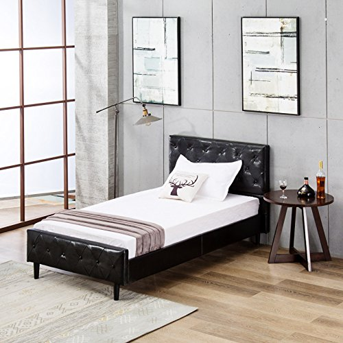 Mecor Upholstered Faux Leather Platform Bed with Solid Wooden Slat Support and Button Tufted Headboard and Footboard-Twin Size- Black