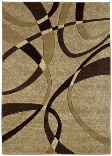 - United Weavers Contours Collection La Chic 2-Feet 7-Inch by 7-Feet 4-Inch Heavyweight Heatset Olefin Rug, Chocolate