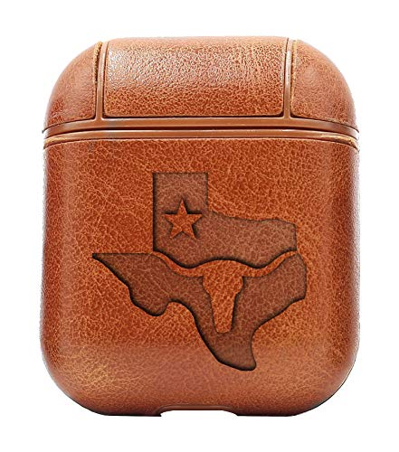 Texas Longhorn MAP (Vintage Brown) Air Pods Protective Leather Case Cover - a New Class of Luxury to Your AirPods - Premium PU Leather and Handmade exquisitely by Master Craftsmen (Texas Map Cartoon)