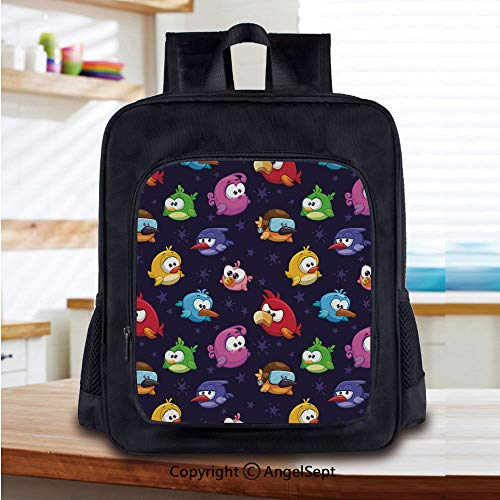 14 Inch Backpack,Angry Flying Birds Figure with Various Expressions Game Toy Kids Babyish Artsy Image Perfect for Primary, Preschool, Daycare, and Day Trips,Multicolor -