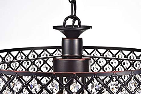 Edvivi Marya 4-Lights Oil Rubbed Bronze Round Crystal Chandelier Ceiling Fixture Beaded Drum Shade Glam Lighting