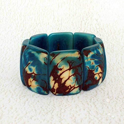 Rustic Chunky Blue Bracelet made of Organic Tagua Nut, Handmade Fair Trade Jewelry