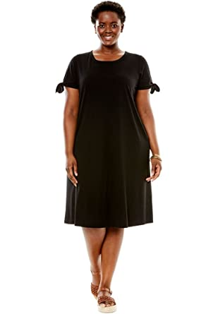 Womens Plus Size Tie Sleeve Dress At Amazon Womens Clothing Store