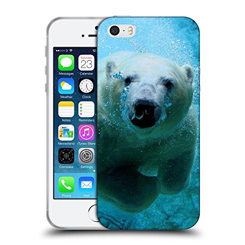 Just Phone Cases Coque de Protection TPU Silicone Case pour // V00004111 Polar ours blanc plongée // Apple iPhone 5 5S 5G SE