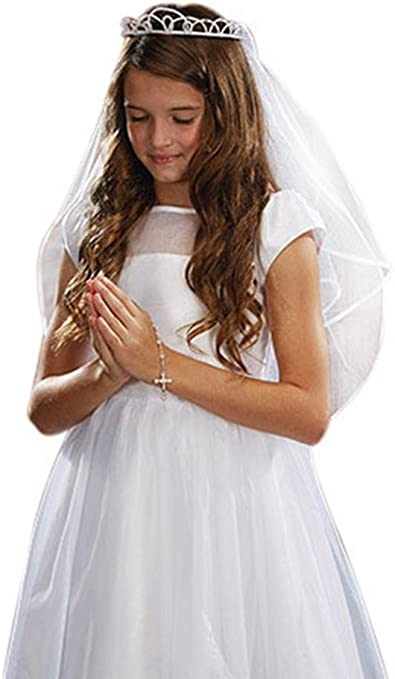 iGirlDress Girls First Communion Rhinestone Crown Veils