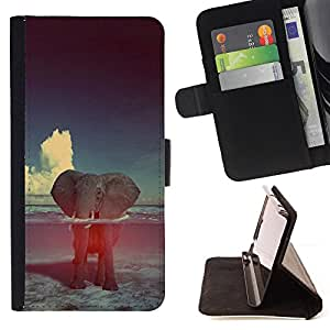 Elephant Abstract Clouds Animal Nature - Painting Art Smile Face Style Design PU Leather Flip Stand Case Cover FOR Sony Xperia Z2 D6502 @ The Smurfs