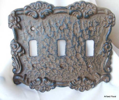 Rustic brown cast iron triple switch cover plate new ebay - Wrought iron switch plate covers ...