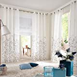 "1pcs Floral Curtain With Leaves Grommet Windows Curtains Panel H*W 88x59"" Grey"