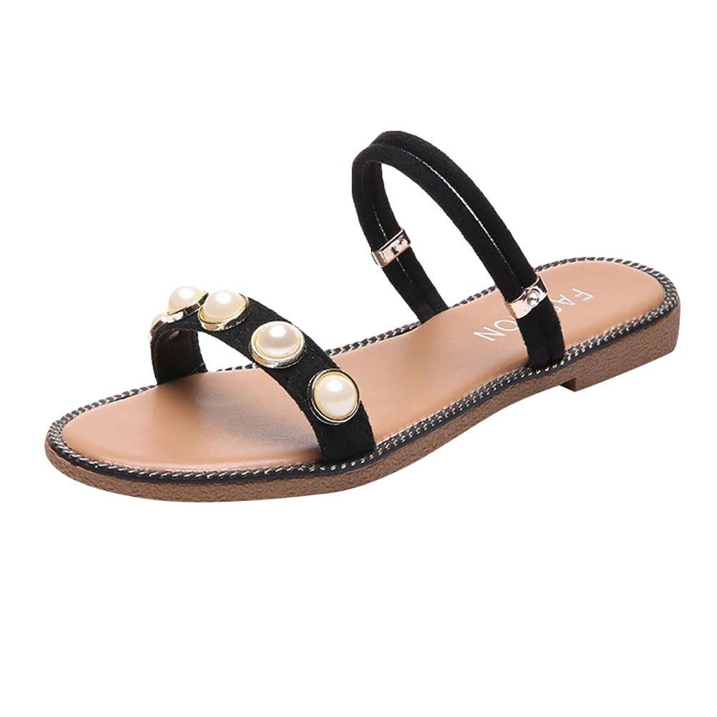 Anguang Donna Moda Open Toe Sandali Scarpe Pantofole Infradito Vacanza Estate Nero