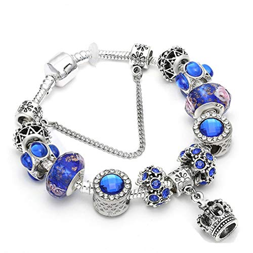 GAJSDJHN Bracelet Silver Crystal Bracelet with Blue Murano Glass Beads Bracelet Bangle for Women DIY Jewelry Gift