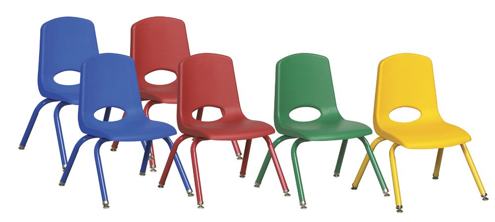 ECR4Kids 12'' School Stack Chair, Powder Coated Legs and Nylon Swivel Glides, Assorted (6-Pack)