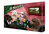 Home of Cockapoos 4 Dogs Playing Poker Canvas Wall Art (36x48)