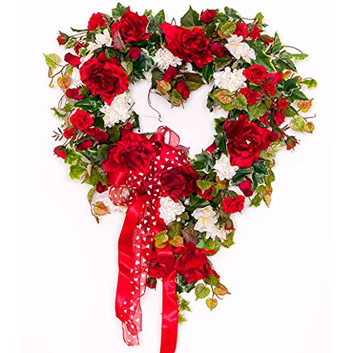 My Love Red Rose Heart Silk Wreath - Valentine's Day or Anniversary Wreath by Darby Creek Trading