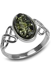 Sterling Silver Green Amber Celtic Knot Oval Ring