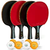 Elite Topspin Ping Pong Paddle Set - Professional 4-Player Table Tennis Racket kit Includes 4 Premium Wood Paddles, 8 Tournament 3-Star Balls, and Portable Storage case - Gift Bundle for The Family
