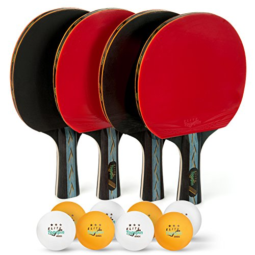 Elite Topspin ping pong paddle set - Professional 4-player table tennis racket kit includes 4 premium wood paddles, 8 tournament 3-star balls, and portable storage case - Gift bundle for - Tennis Racquet Tournament