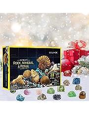 AILIEE 2021 Adventskalender Grappige Vroege Jeugd Onderwijs Speelgoed Geografische Rock Minerale Fossiele Graven Collectie Kit Geschenkdoos Nieuwigheid Zintuiglijke Fidget Speelgoed Set Gift voor Kids Volwassenen