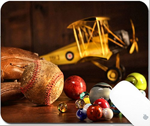 Metal Glo Magic Cloth (Luxlady Gaming Mousepad Old baseball and glove with antique toys on wood floor 9.25in X 7.25in IMAGE: 4585638)